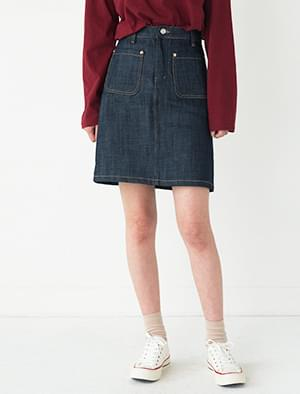 A-line pocket denim skirt