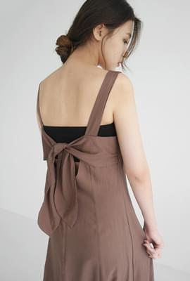 Linen tie back point dress