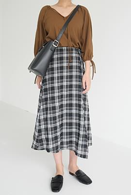 Autumn check wrap skirt
