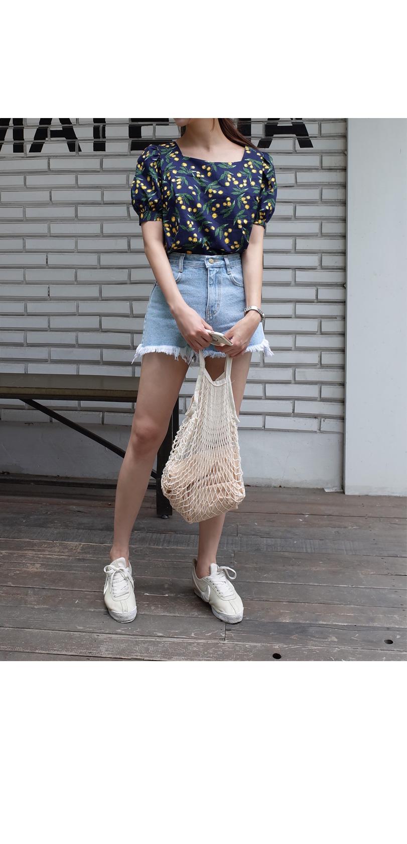 Cherry puff blouse