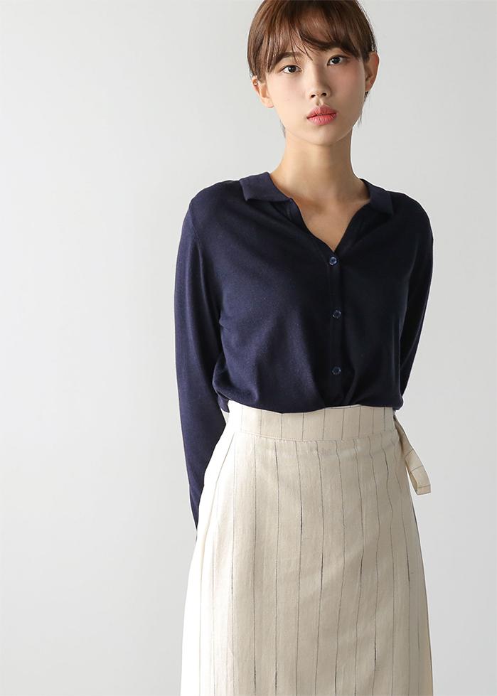 soft collar cardigan