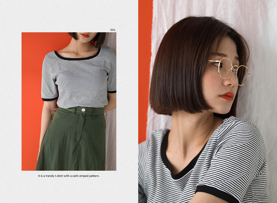 square neck stripe tee