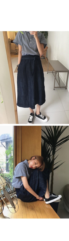 Deep denim banding skirt