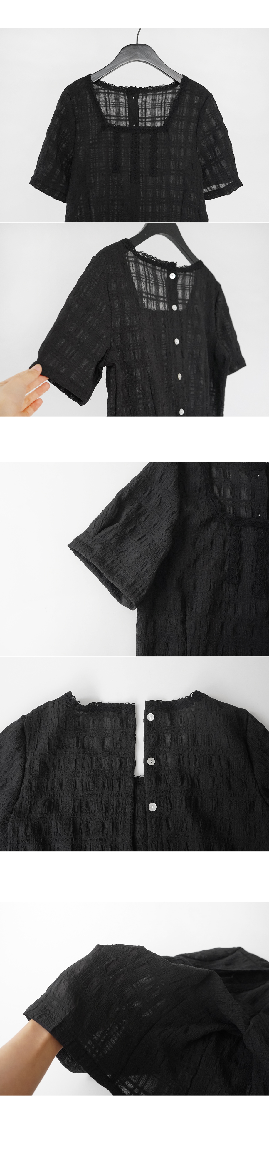 double-sided grid blouse (2colors)