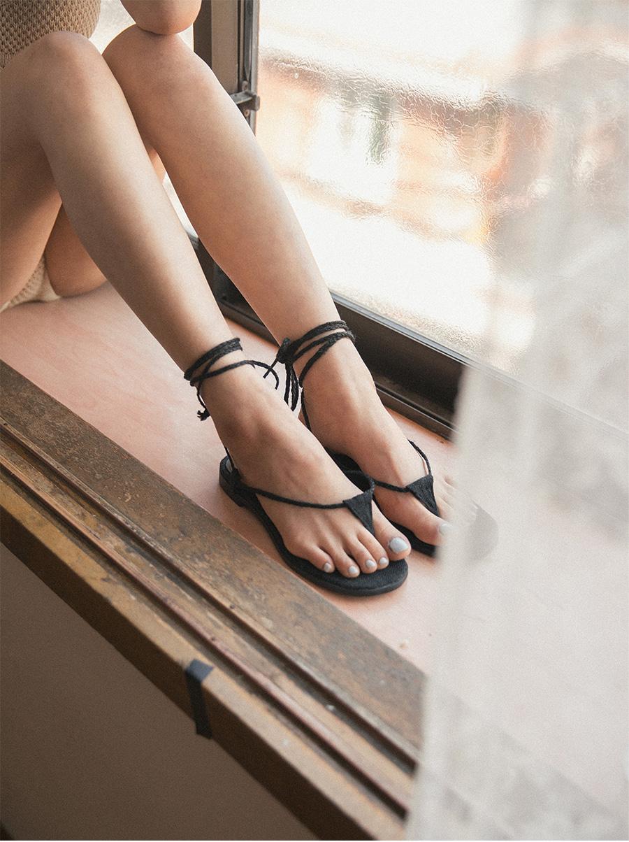 rattan lace-up sandal