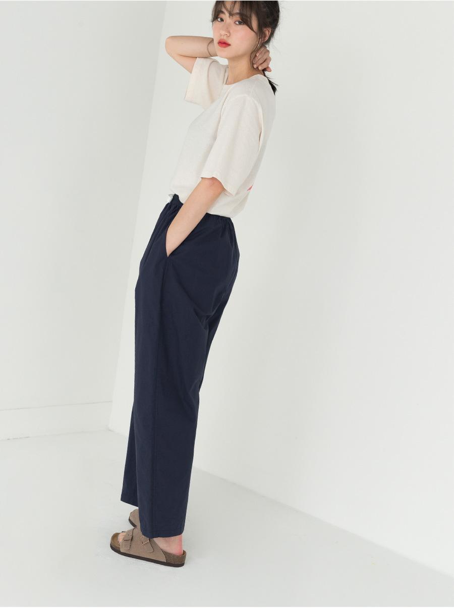 high waist baggy banding pants