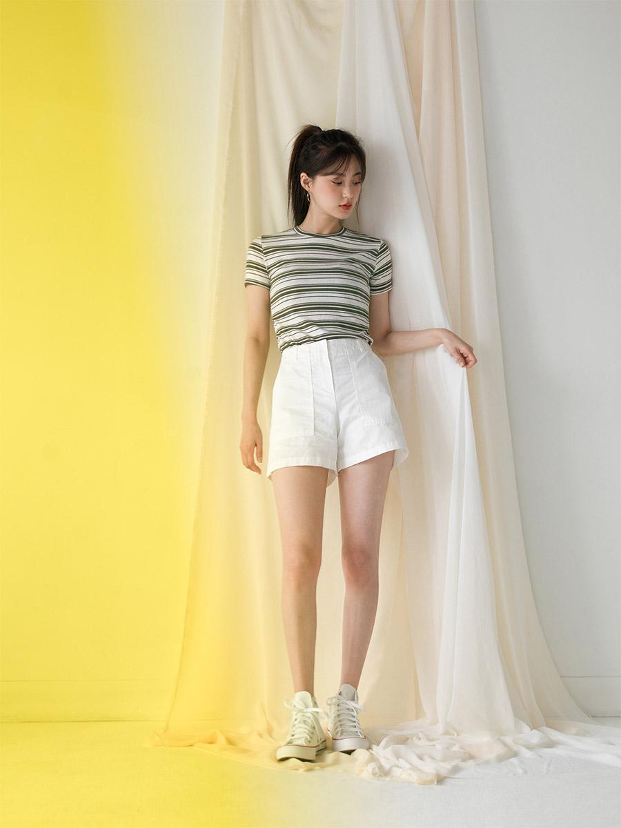 5color slim fit stripe tee