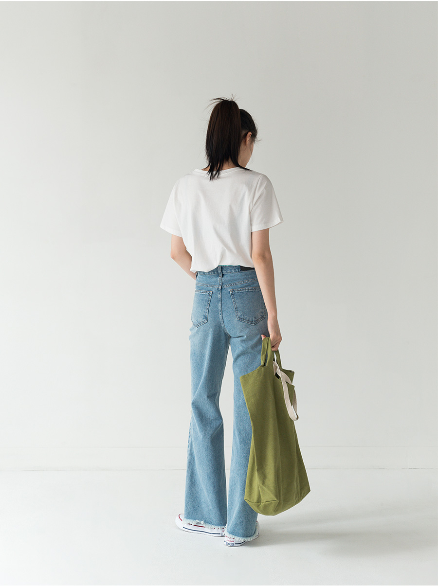 high-waist straight damage pants