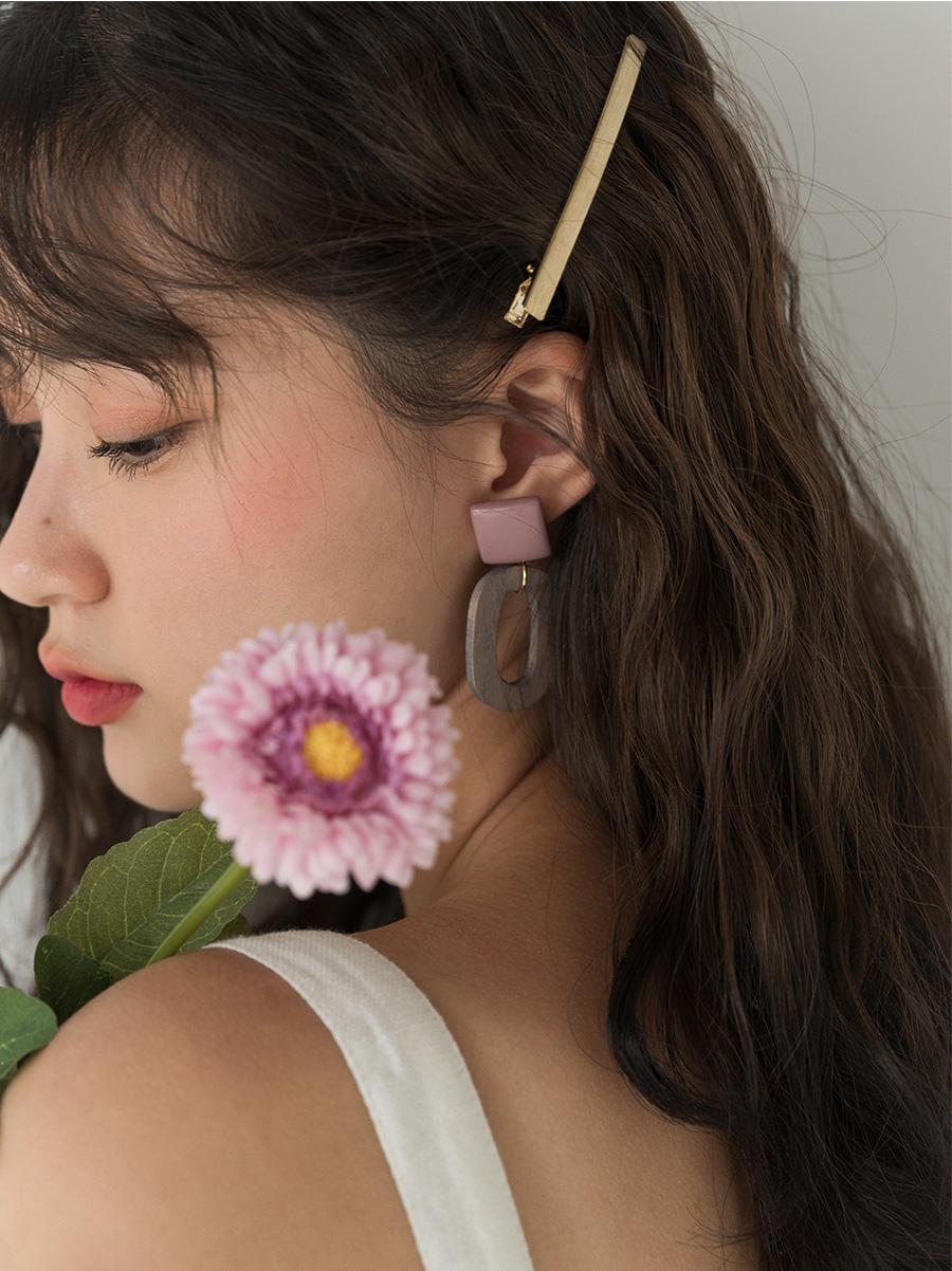 retro wood pendant earring