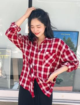Smudge check pocket shirts_M (size : free)