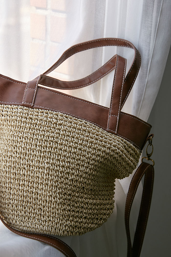 vintage wheat straw bag