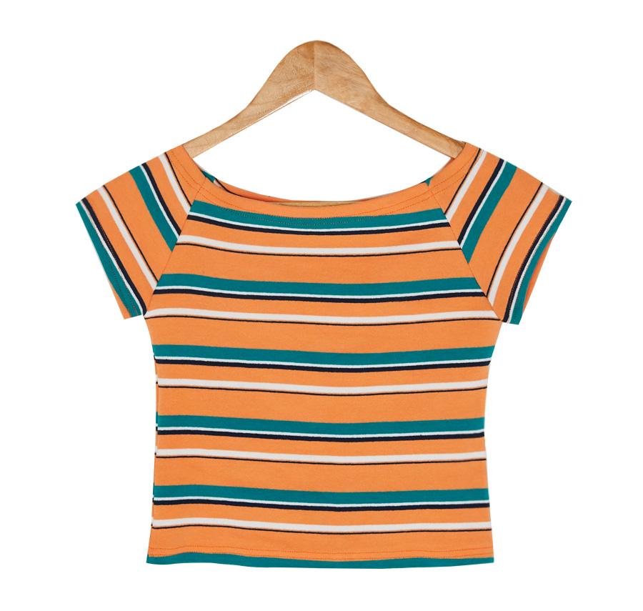 stripe pattern semi crop tee