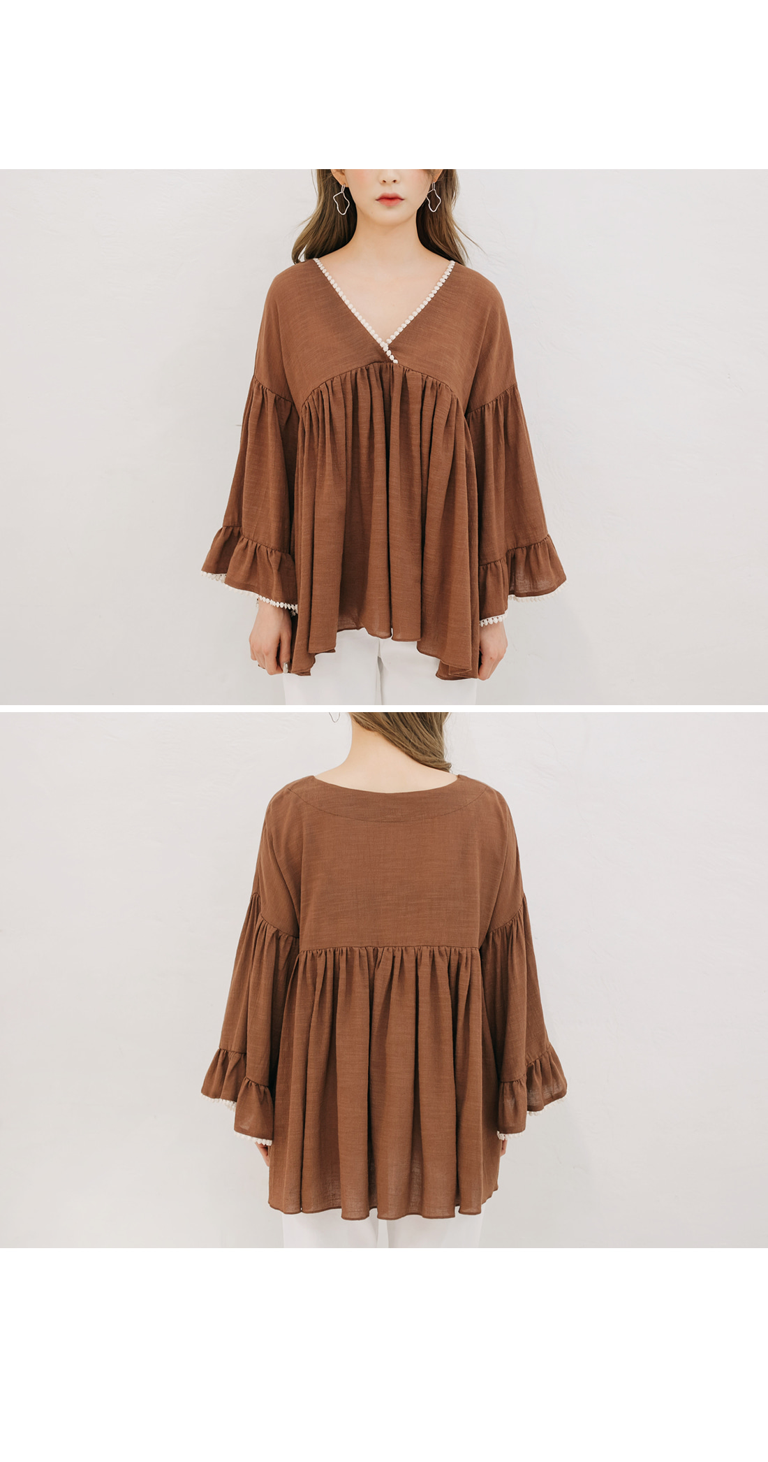 [TOP] LACE V NECK SHIRRING BLOUSE