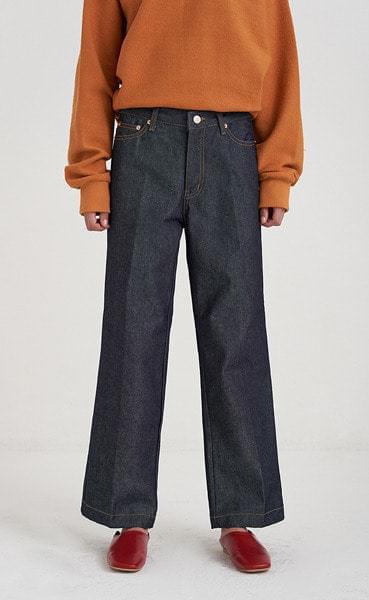 straight raw denim pants