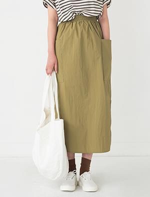 side pocket slit banding skirt
