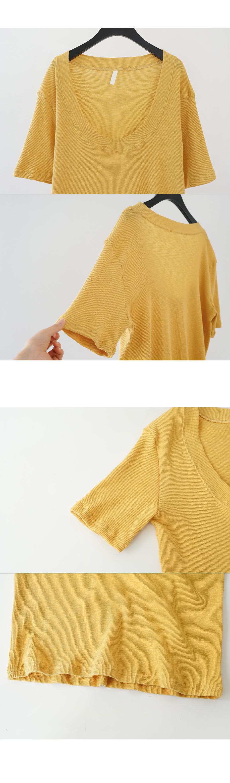 deep U-neck ribbed top (4colors)