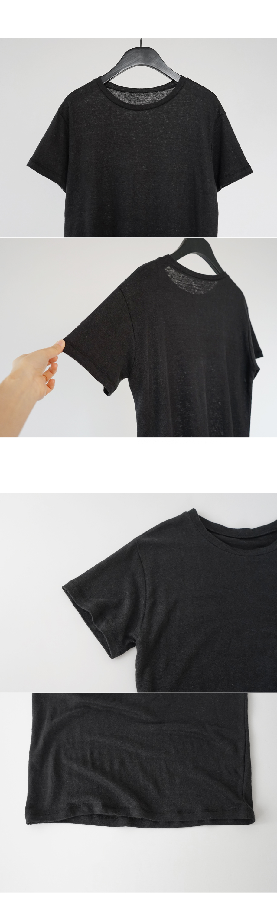 washed color linen tee (3colors)