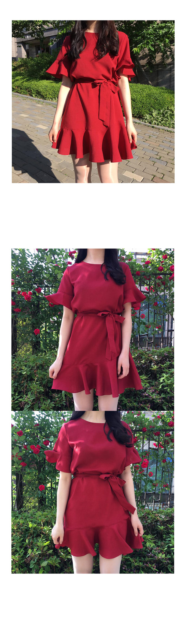 Frill Ribbon String Mini Dress