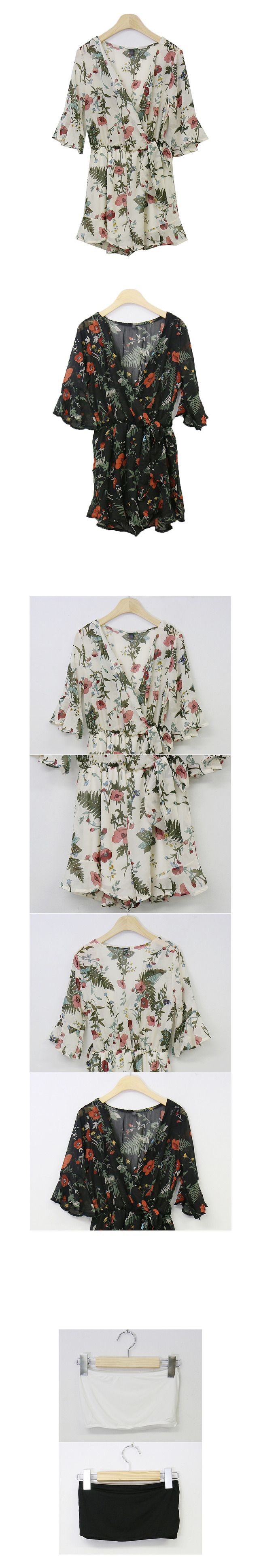 Same day shipping ♡ Tank Top + Chiffon Flower Jump Suit ops