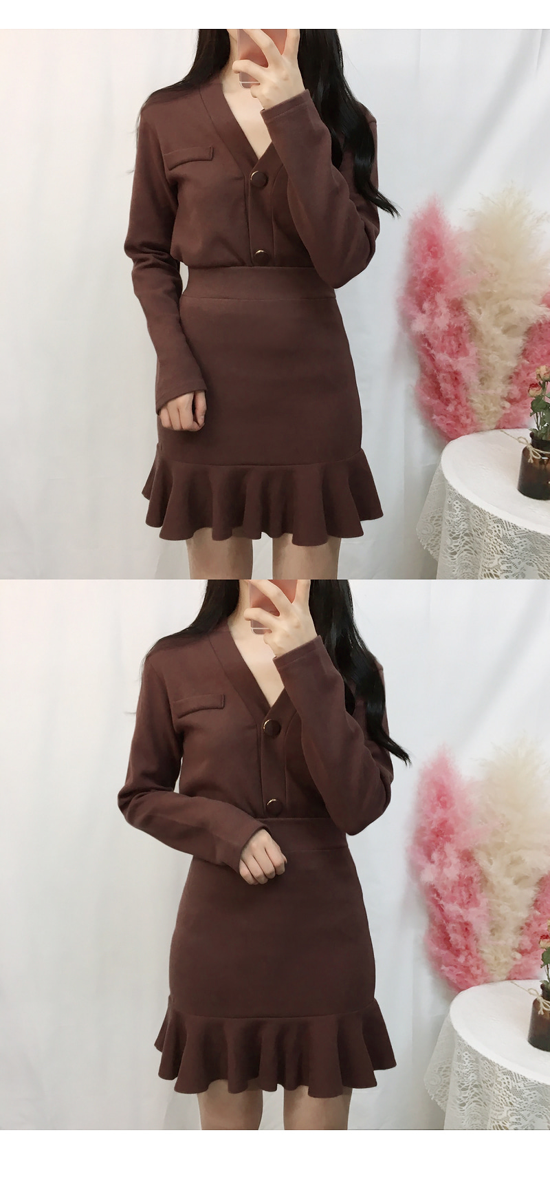 Event discount ♡ button cardigan two piece set