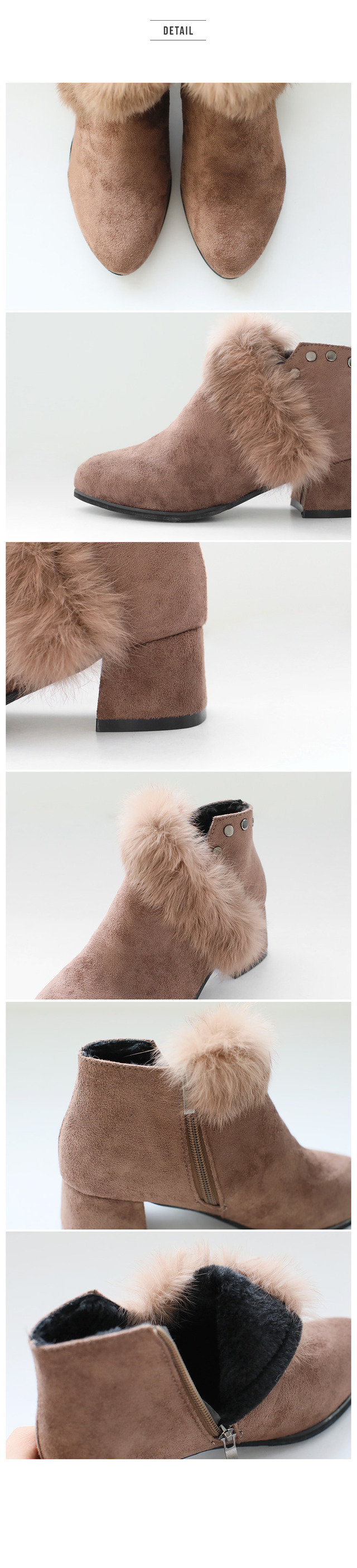 Navy Real Fur Ankle Boots 4.5cm