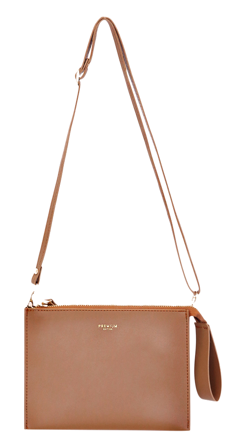 2 WAY SQUARE LEATHER CLUTCH BAG