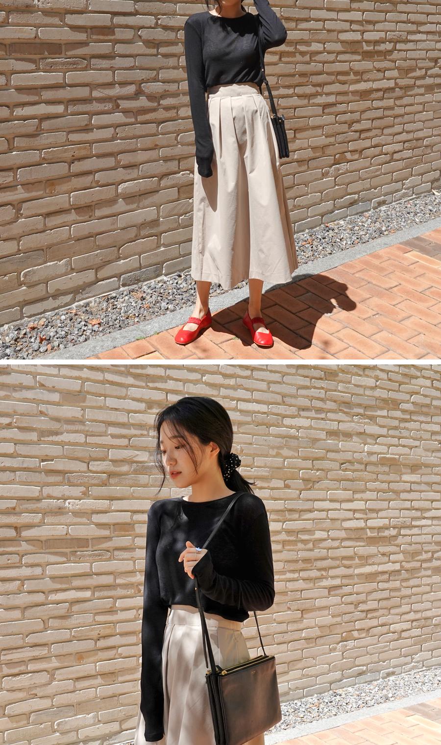 Balloon long pintuck skirt_S (size : S,M)
