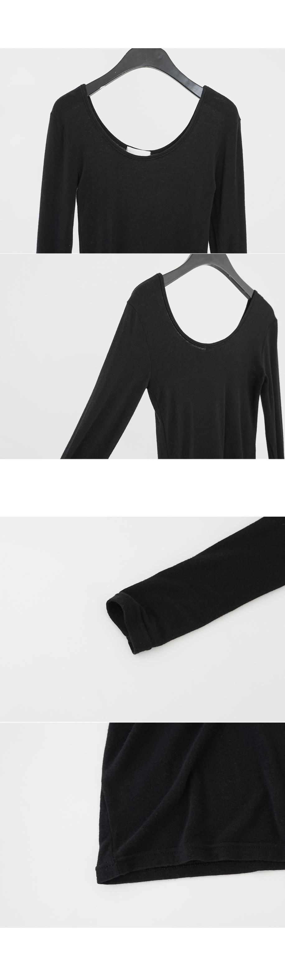 deep U-neck stretchy tee (5colors)