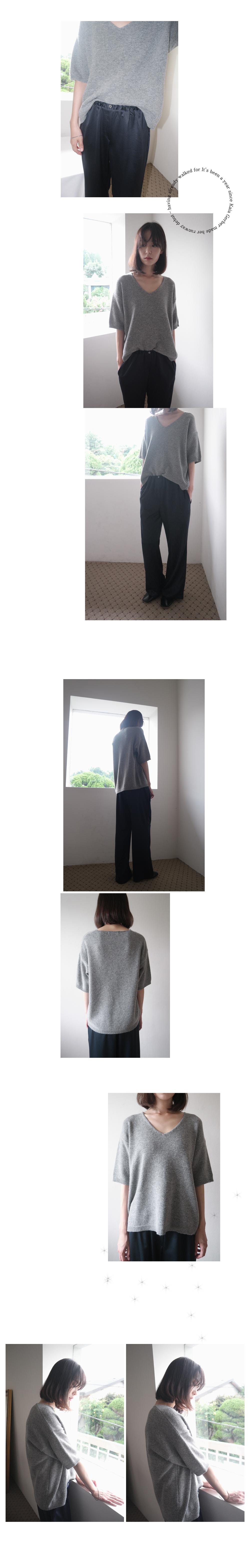 V-neck half-sleeve knit (5colors)