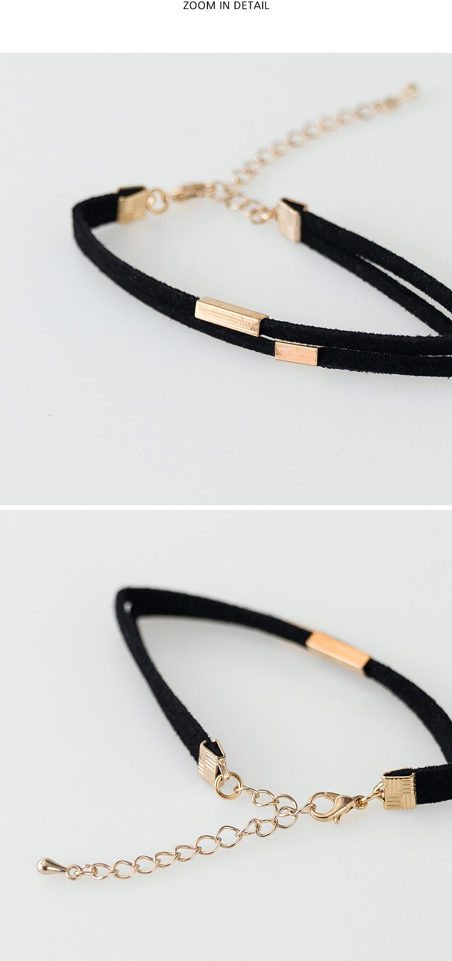 gold bar detail suede bracelet