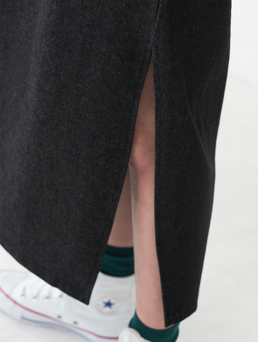 daily slit detail banding long skirt