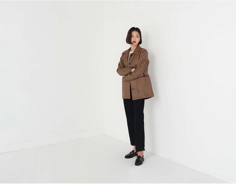 fake leather collar jacket