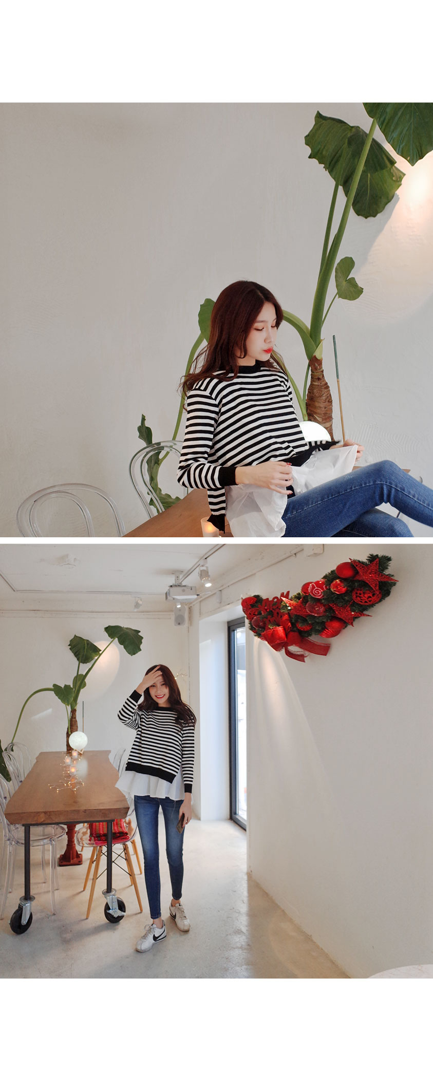 Daily cute knit + slip SET