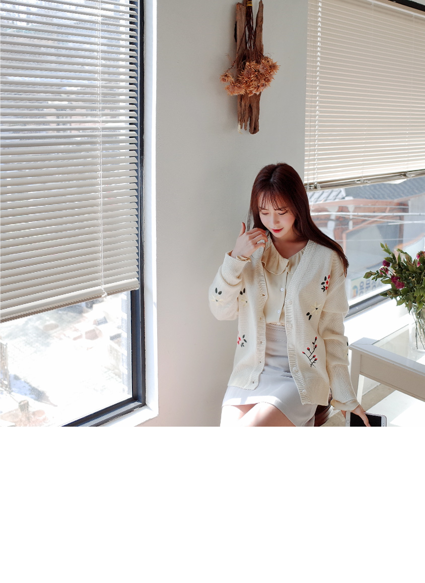 Embroidered Flower Cardigan