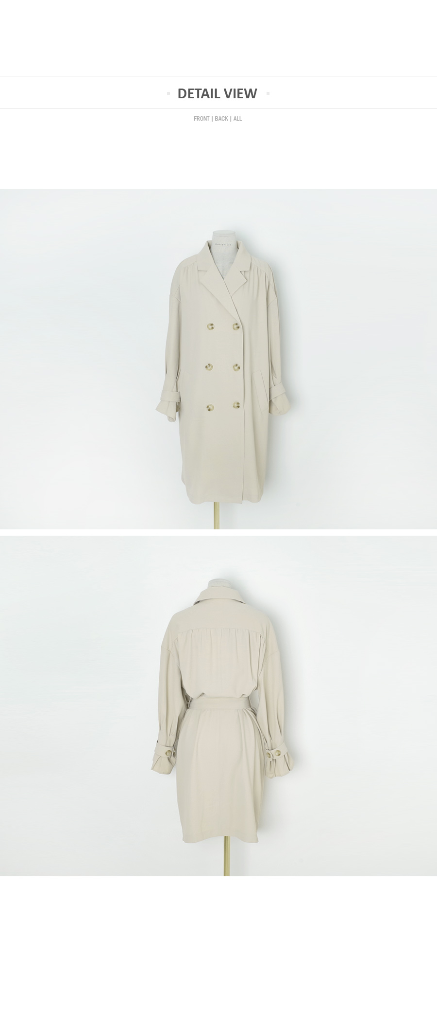 Partial fin trench coat