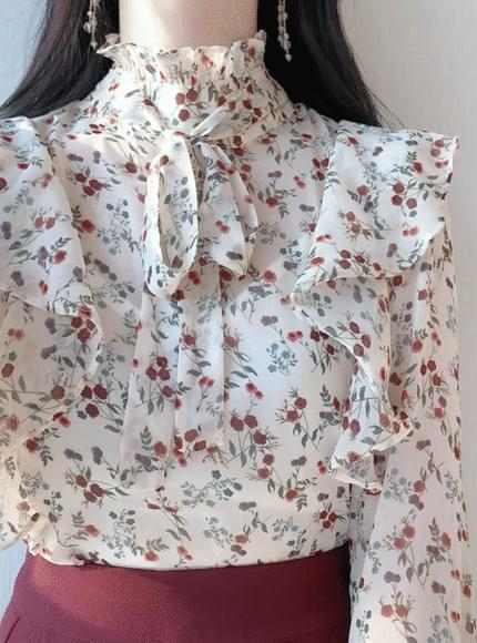 London flower ribbon blouse