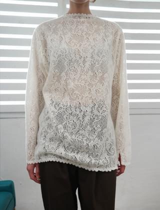 antique button lace blouse (2colors)