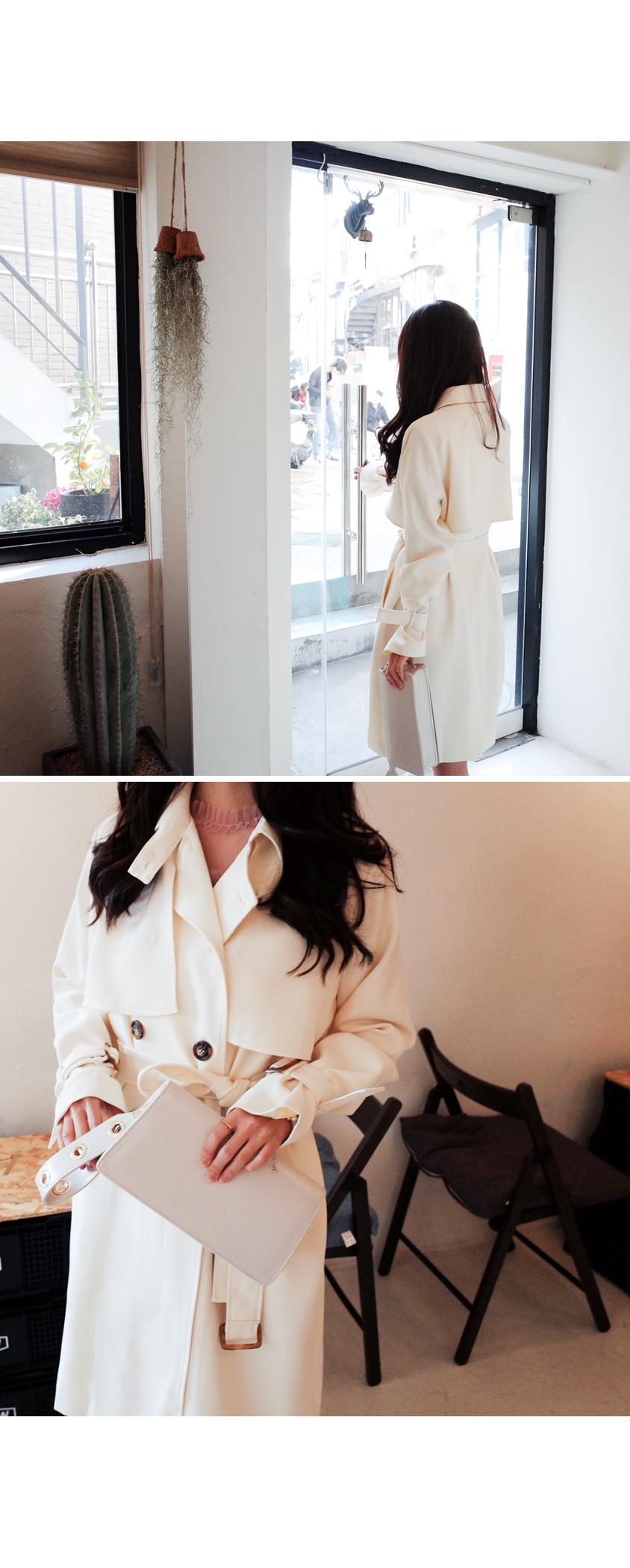 Cream-style trench coat