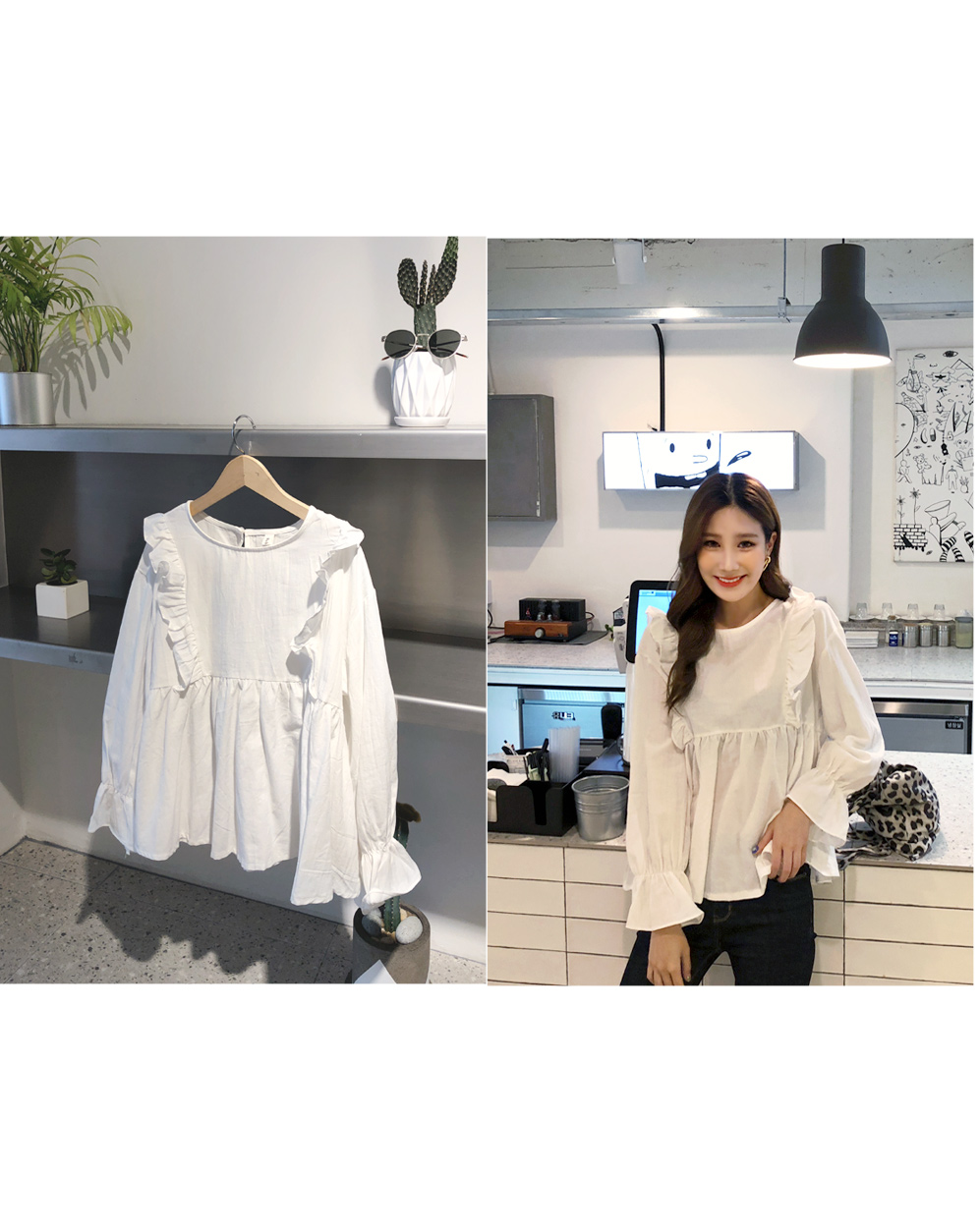 Frilly wing blouse