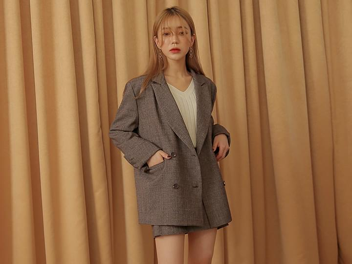 [OUTER] CHECK SET-UP DOUBLE JACKET