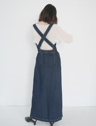 back X-line wide denim suspenders (2colors)
