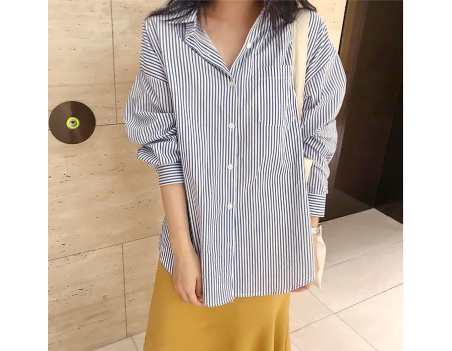 Musk stripe cotton shirts_H (size : free)