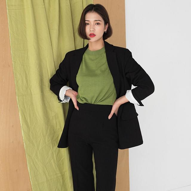basic loose fit two button jacket