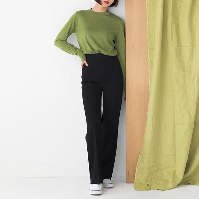 straight fit high waist maxi pants