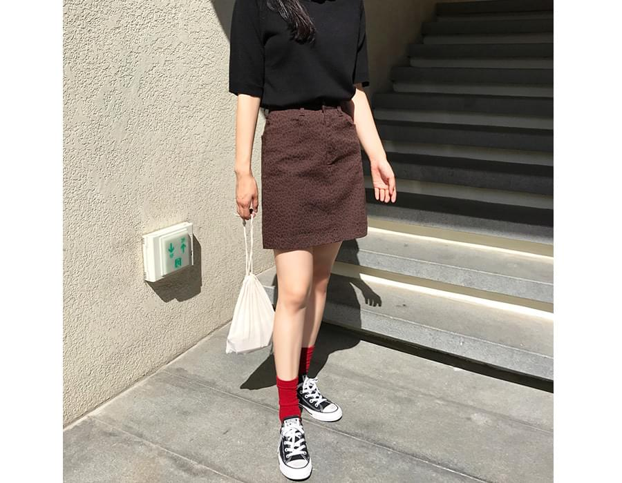 Gloss leopard A-line skirt_K (size : S,M)