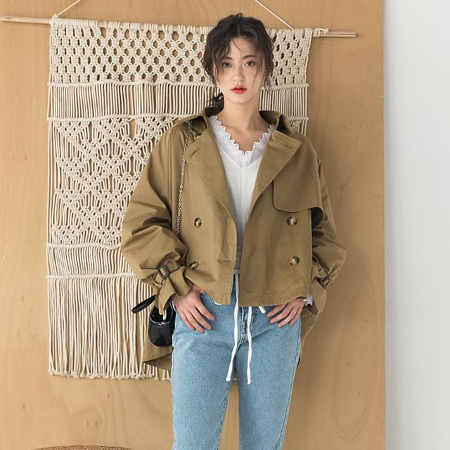 double button short trench coat