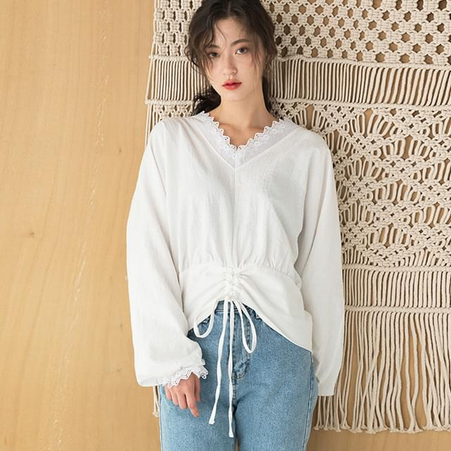 lace point string blouse