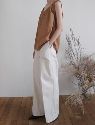 solid texture wide cotton pants