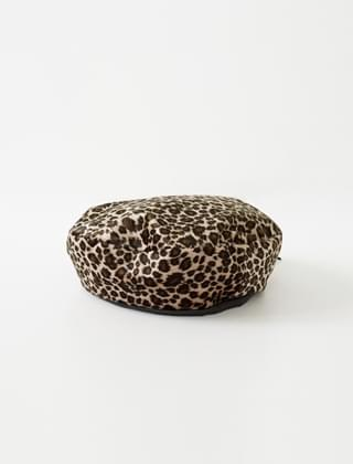 soft leopard beret