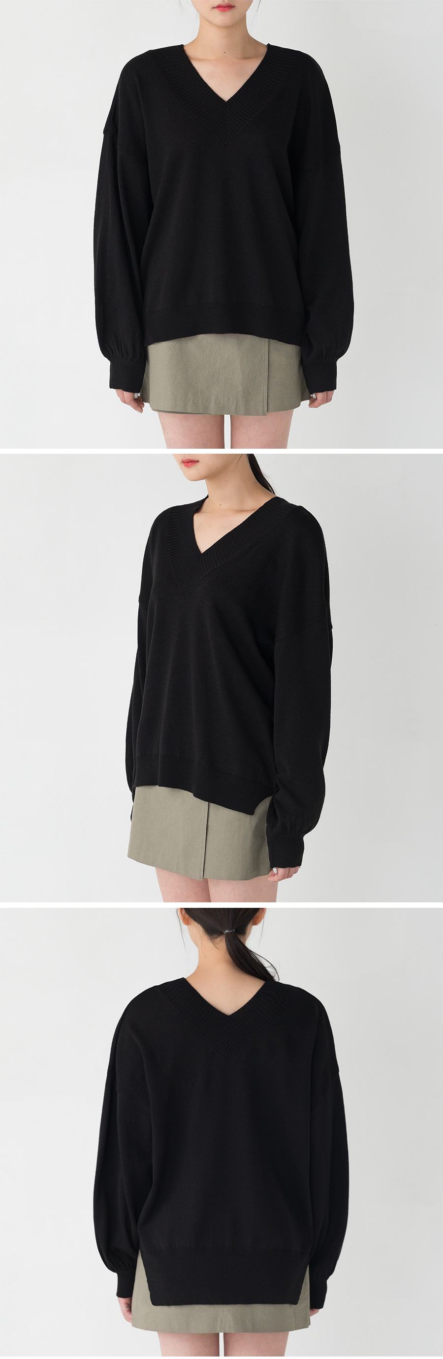 basic v-neck drop shoulder knit